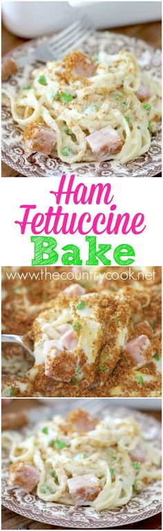 Ham Fettuccine Bake recipe from The Country Cook (baked pasta recipes rotini) Ham Recipes, Dinner Recipes, Cooking Recipes, Recipes Using Ham, Pasta Recipes, Recipies, Popcorn Recipes, Cooking Tips, Ham Dishes