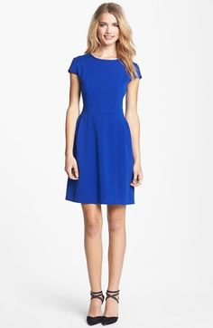 Eliza J Seamed Double Knit Crepe Fit & Flare Dress (Regular & Petite) | Nordstrom