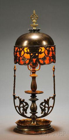 Oscar Bach (1885-1957) Boudoir Lamp Brass and mica New York