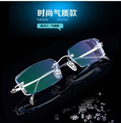 Mens eyewear prescription diamond trimming glasses rimless eyeglasses with finished products myopia glasses gradient color 110