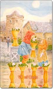 The Six of Cups is a card of nostalgia, or childlike naivety. It may be a time when you are looking back to your past and wish that you could return to a time or state of being, when you felt happy or safe.http://www.freeastrology123.com/free-tarot-card-readings/daily-tarot-card/
