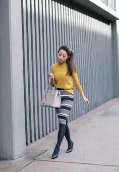 Retro Style: Mustard turtleneck + sweater pencil skirt