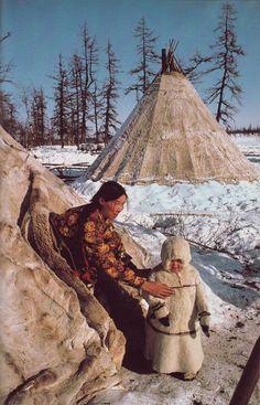 Nomadic reindeer herders camp near Salekhard in the Soviet Arctic by Dean Conger