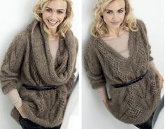 Схема и описание вязания на спицах пуловера со съемным воротником из журнала «Burda. Creazion» №5/2015