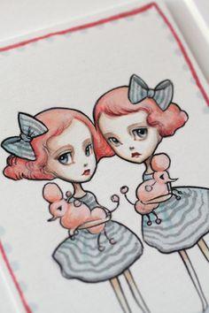 The Vampoodle Twins - original illustration Mab Graves