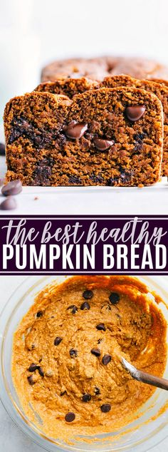 The best ever healthy pumpkin bread is bursting with Fall flavors and made with tons of healthy ingredient swaps. This healthy pumpkin bread with yogurt can be made with or without chocolate chips. via chelseasmessyapro… Healthy Pumpkin Bread, Pumpkin Chocolate Chip Bread, Chocolate Chips, Easy Healthy Bread Recipe, Healthy Pumpkin Desserts, Pumpkin Recipes Healthy Easy, Best Pumpkin Muffins, Pumpkin Loaf, Healthy Recipes