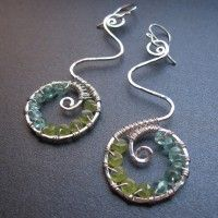 "Hammered swirls with apatite and peridot, about 1-3/4"". Available in 14k gold filled & sterling silver"