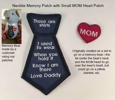 MOM & DAD SET - Necktie and Heart Shaped Memory Pillow Patch Combo - Iron on, Sew On, This is a shirt I used to wear, Memory Patches #memorypatches #birthdaygifts