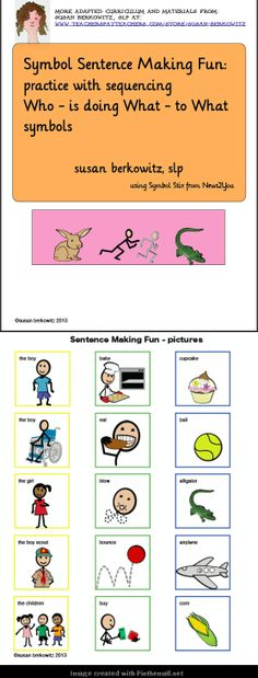 """Here is some fun practice making sentences without needing them to be """"realistic."""" Make them funny if you want. Only need to put in correct order. $: http://www.teacherspayteachers.com/Product/Communication-Symbol-Sentence-Making-Fun_AAC_Autism_Special-Ed-1014568"""