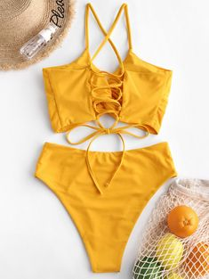 Tankini Swimsuits and Tops Swimwear Sale, Swimwear Fashion, Bikini Fashion, Tankini Swimsuits For Women, Cute Swimsuits, Yellow Clothes, High Waisted Briefs, Girls Bathing Suits, Bikini Outfits