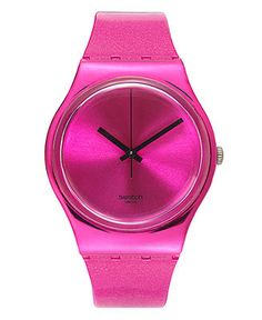 Swatch Watch, Unisex Swiss Deep Pink Solid Pink Silicone Strap 34mm GP139 - Women's Watches - Jewelry & Watches - Macy's