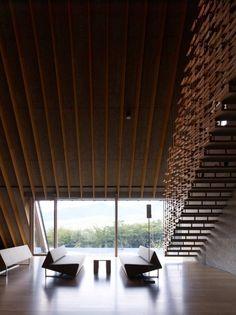 Momofuku Ando Center / Kengo Kuma & Associates  #ceiling #staircase