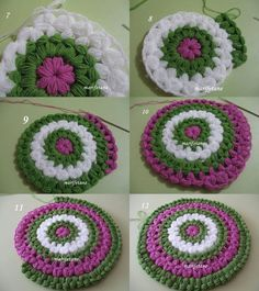 This Pin was discovered by Nur Crochet Coaster Pattern, Crochet Flower Patterns, Crochet Motif, Crochet Designs, Knitting Patterns, Diy Crochet Flowers, Puff Stitch Crochet, Crochet Circles, Crochet Projects