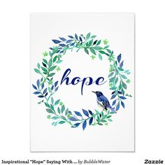 """Inspirational """"Hope"""" Saying With Wreath And Bird Photo Print"""