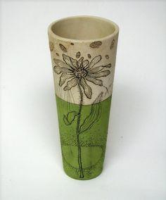 Handmade Charteuse Pottery Vase with Black Eyed Susan Vase Transparent, Pottery Mugs, Ceramic Pottery, Silver Vases, Blue Vases, Black Vase, Small Vases, Clear Vases, Round Vase