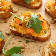 Butternut Squash Crostini with Arugula, Walnuts, and Carrot Slices