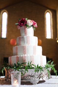 pink + white striped wedding cake! | The Nichols #wedding