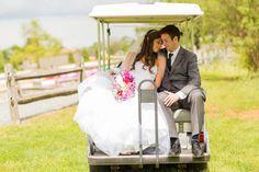 Golf Cart Wedding Shot | Photo By Kaitlin Noel Photography
