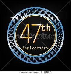 black background and blue circle 47th anniversary for business and various event