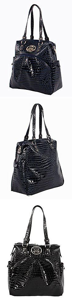 """Kathy Van Zeeland Bags. Kathy Van Zeeland Luggage Croco PVC 16"""" Shopper Bag (16in, Navy).  #kathy #van #zeeland #bags #kathyvan #vanzeeland #zeelandbags"""