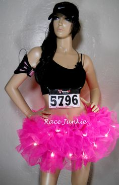 Night Race by Race Junkie Light Up Sewn Tutu. Night Running. Glow Run. Run Like A Girl, Girls Be Like, Cool Girl, Color Run Outfit, Half Marathon Motivation, Glow Run, Races Outfit, Running Costumes, Run Disney