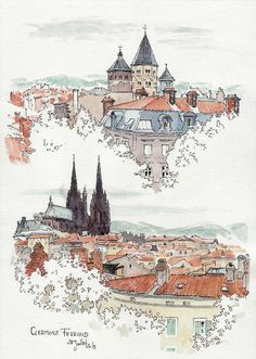 vue de Clermont Ferrand view of Clermont Ferrand Watercolor Architecture, Architecture Drawings, Watercolor Landscape, Art And Illustration, Sketch Painting, Watercolor Sketch, Watercolor Paintings, Watercolor Ideas, Watercolours