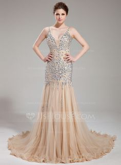 Trumpet/Mermaid V-neck Chapel Train Tulle Prom Dress With Beading (018018993)$196.49