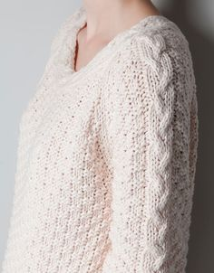 JUMPER WITH CABLE KNIT COLLAR - Knitwear - Woman - ZARA United States