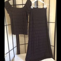 Two piece black maxi outfit. Extra long. Like new Perfect maxi outfit for taller girls.  Very classy but sexy look.  Size medium.  Hardly worn. Max Studio Dresses