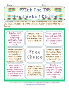 Looking for a fun, creative activity that will deepen your student's insight into food webs and chains? This is a high-level Think Tac Toe, where students will be challenged to compare, create  write about their understanding of food chains and webs.