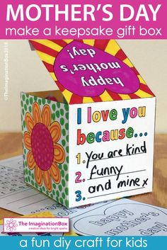 Make homemade, thoughtful Mother's Day gifts in the classroom - this cute diy printable gift box activity is creative and easy to make at school. Decorate the box template, color the hearts, flowers, complete the wordsearch, mini gifts, messages and cards to put inside. Click on 'view' to preview this Mother's Day art and craft downloadable pdf resource in full.