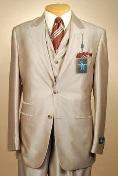 52R Suit Steve Harvey 2 Button 3 Piece Beige Gold Mens Suits 52 Regular XA14 | eBay