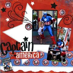 Captain America - Club CK - The Online Community and Scrapbook Club from Creating Keepsakes Vacation Scrapbook, Disney Scrapbook Pages, Scrapbook Page Layouts, Baby Scrapbook, Scrapbook Paper Crafts, Scrapbook Supplies, Scrapbook Cards, Scrapbook Examples, Creating Keepsakes