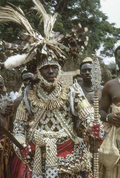 Kuba Nyim (ruler) Kot a-Mbweeky III, in state dress, Mushenge, Congo (Democratic Republic)