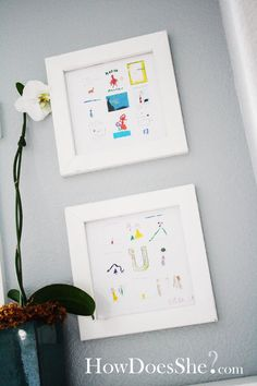 Scan some of your favorite drawings from your kids into Photoshop.  Reduce their image size to make all of them fit into one frame.. (nine per frame).  Print them and then frame them to hang on the wall.. :)