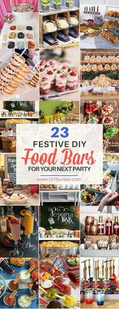 Stunning Party Food Bars for Your Next Big Occasion These 23 food bars are incredible for holidays and parties! I love the desserts the best! These 23 food bars are incredible for holidays and parties! I love the desserts the best! Party Food Bars, Parties Food, Food For Graduation Parties, Party Food Themes, Diy Fest, Food Stations, Drink Stations, Partys, Bar Drinks