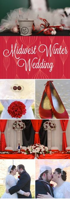 Midwest Winter Wedding | Beautiful & Gorgeous Red, Black and White Wedding Idea. Best photography inspiration for weddings. -Inspired Bride