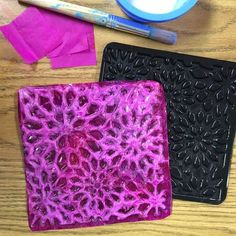 Cast Tissue Tiles. Made with tissue paper an plastic rubbing plates. by Art Projects for Kids