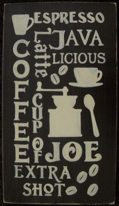 COFFEE Bean Java Lover Subway Art Typography Sign Plaque Decor Espresso. $52.95, via Etsy.