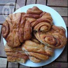 German Cinnamon Rolls Recipe Breads with baking yeast, milk, plain flour, caster sugar, butter, salt, butter, caster sugar, ground cinnamon