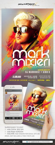 Electro DJ Flyer PSD Flyer Design Templates, Flyer Template, Miami Music, Pop Art Posters, Flyer Design Inspiration, Electric Daisy Carnival, Kids Z, Club Parties, Party Flyer