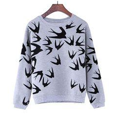 New Fashion Women Swallow Printing Long Sleeve  Sweatshirt Pullover Tops