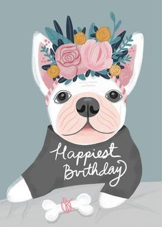 Leading Illustration & Publishing Agency based in London, New York & Marbella. Cute Happy Birthday Quotes, Happy Birthday Wishes Quotes, Happy Birthday Pictures, Happy Birthday Greetings, French Bulldog Happy Birthday, Happy Birthday Cool, Diy Birthday, Mini Scrapbooks, Bravo
