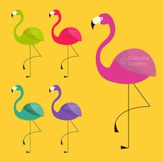 Flamingo Digital Clip Art  Clipart Set  by CollectiveCreation