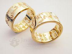 ♡Handmade Jewelry♡ Unique custom Jewelry @Christina Hunzeker Jewelry (Kim Ji Sung) ☆ Javisi Jewelry ☆  - From Javisi --------------------------------------------- Yellow gold wedding bands with arabic and korean writing
