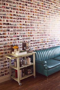 Photo wall that looks like a brick wall - very cool