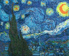 #20 Starry Night  Sorry Vincent Van Gogh, but it looks like someone has stolen your thunder! This artwork is another artwork to recreate a famous painting completely using jellybeans - Amazing!  You would be forgiven for not being able to tell the difference between the jellybean version and the original masterpiece!