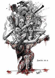 Mas ele foi ferido por causa das nossas transgressões, e moído por causa das nossas iniqüidades; o castigo que nos traz a paz estava sobre ele, e pelas suas pisaduras fomos sarados. (Isaías 53:5)