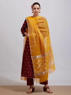 Buy Yellow Handwoven Chanderi Slik Zari Dupatta online at Theloom
