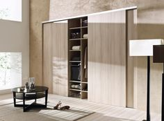 These doors add a sleek element to your room and blend seamlessly into your space. Color coordinated closet organizer with laundry hamper, wire baskets and adjustable shelving. Furniture, Guest Bedrooms, Closet Door Makeover, Sliding Barn Door Closet, Modern Closet, Office Partitions Wall, Color Coordinated Closet, Simple Closet, Wardrobe Doors